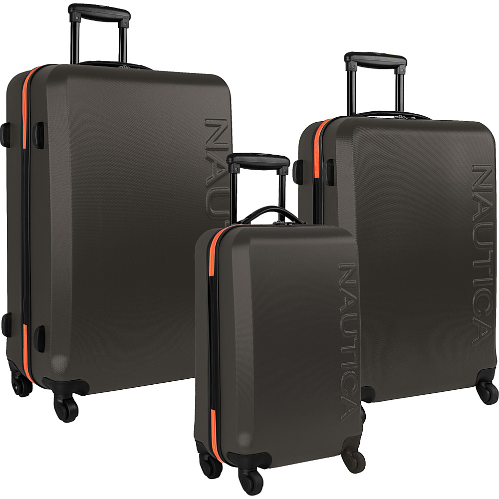Nautica Ahoy 3-Piece Hardside Luggage Set Grey/Orange - Nautica Luggage Sets