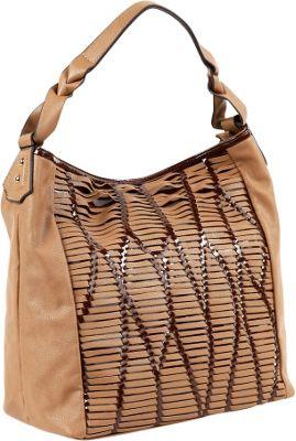 Nicole Lee Yanel Woven Streams Hobo Bag TAN - Nicole Lee Manmade Handbags