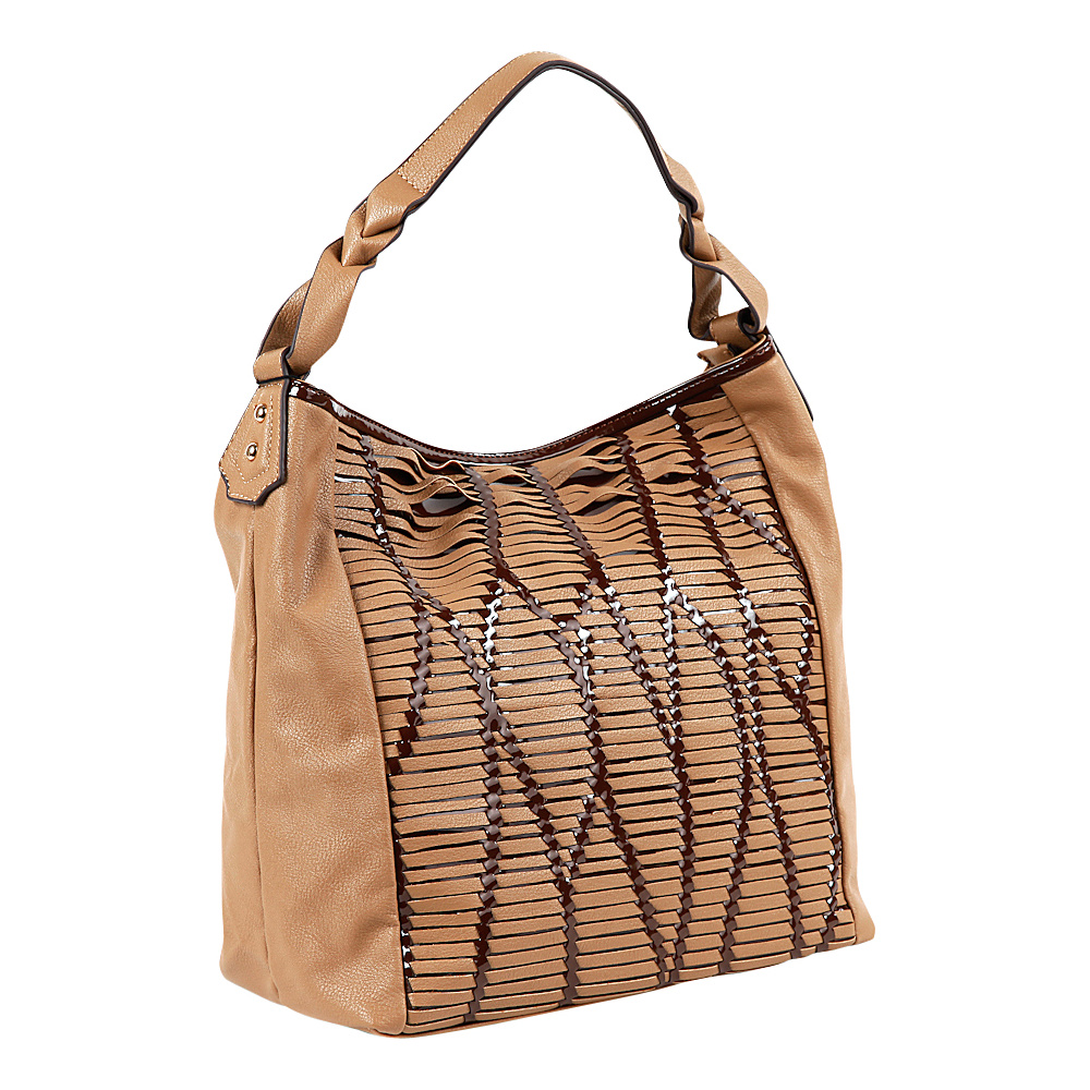 Nicole Lee Yanel Woven Streams Hobo Bag TAN Nicole Lee Manmade Handbags