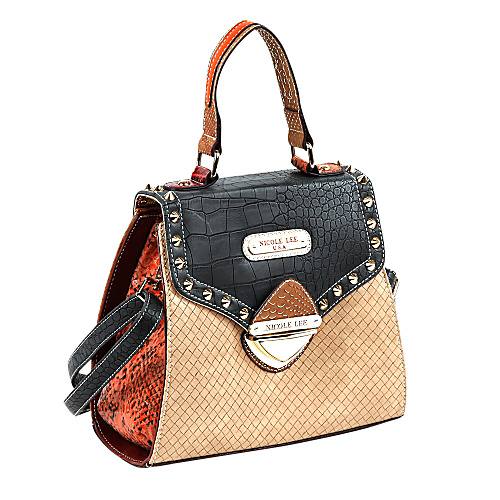Nicole Lee Mallory Mix Match Color Block Small Satchel Black/Tan - Nicole Lee Leather Handbags