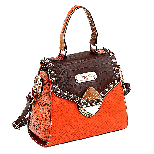 Nicole Lee Mallory Mix Match Color Block Small Satchel Brown/Orange - Nicole Lee Leather Handbags