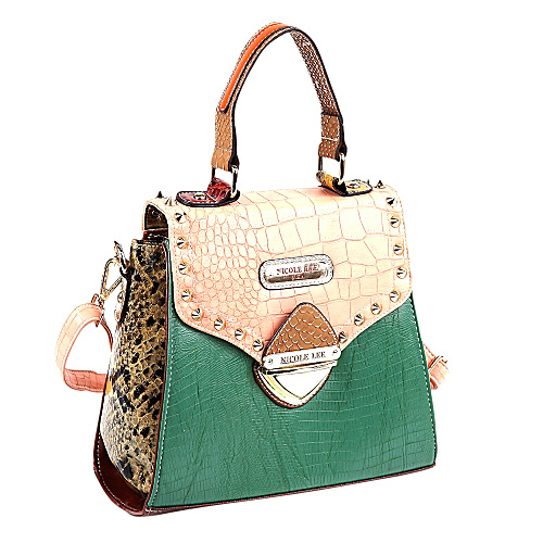 Nicole Lee Mallory Mix Match Color Block Small Satchel Salmon/Green - Nicole Lee Leather Handbags