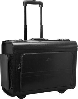 Mancini Leather Goods Wheeled Laptop Catalog Case Black - Mancini Leather Goods Wheeled Business Cases