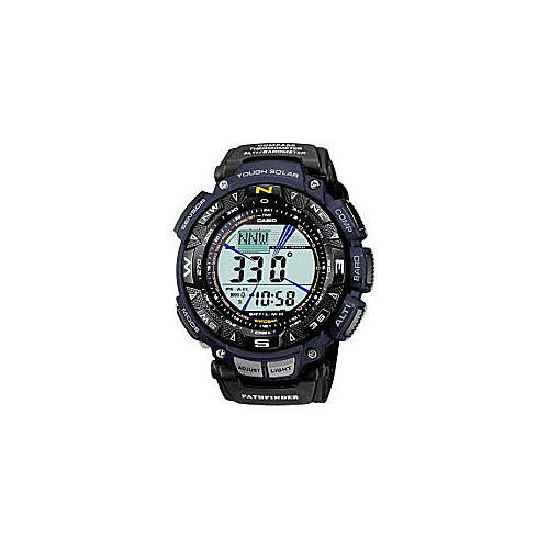 Casio Men's Pathfinder Triple Sensor Multi-Function Sport Watch Blue Nylon Strap Black - Casio Watches
