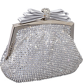 Crystal and Mesh Clutch Silver