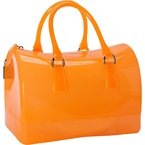 Furla Candy Bauletto Gomma Satchel Juice (Neon Orange) - Furla Designer Handbags