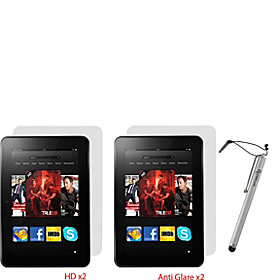 "4-Pk Screen Protectors w/ Stylus for Kindle Fire HD 8.9"" Silver"