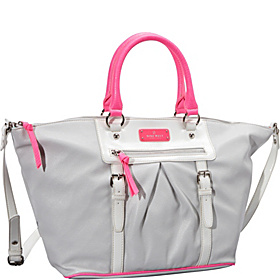 Bright Lights Large Pleated Satchel Grey Mist/White/Hot Magenta