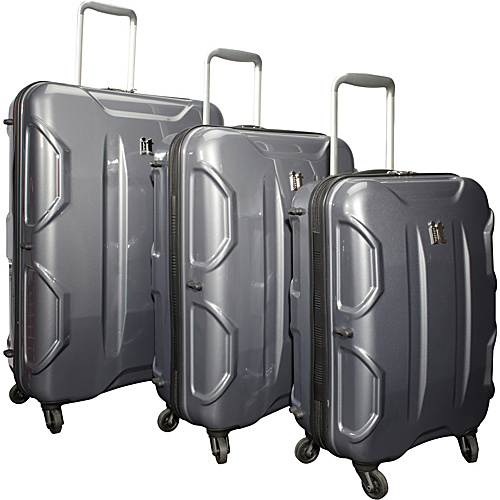 IT Luggage Shiny Victoria 3 Piece Luggage Set Dark Grey - IT Luggage Hardside Luggage