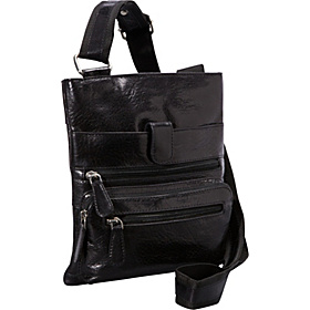 Leather 3 Zip Front Pocket Crossbody BLACK