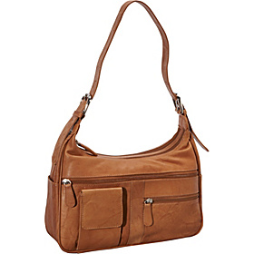 Double Top Zip Leather Hobo TAN