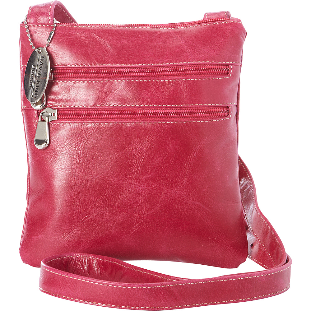 David King Co. Florentine 3 Zip Cross Body Bag Fuchsia David King Co. Leather Handbags