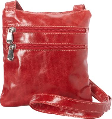 David King & Co. Florentine 3 Zip Cross Body Bag Red - David King & Co. Leather Handbags