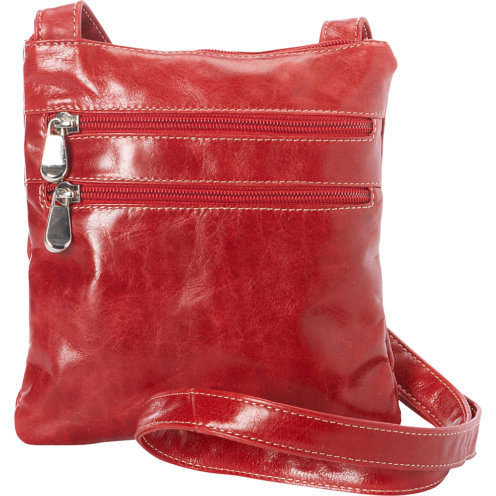 David King Co. Florentine 3 Zip Cross Body Bag Red David King Co. Leather Handbags