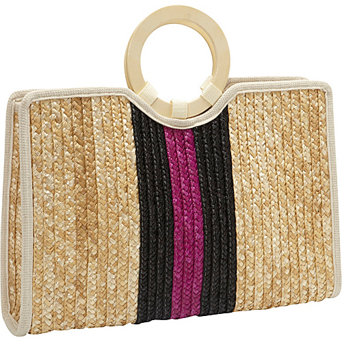 Magid Milan Straw Vertical Stripe Bracelet Tote Natural/Black - Magid Straw Handbags