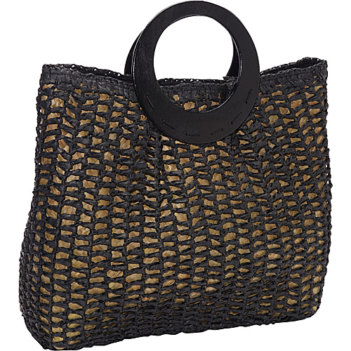 Magid Paper Straw Crochet Bracelet Tote Black - Magid Straw Handbags