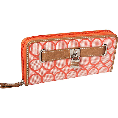 Nine West Handbags 9s Jacquard Zip Around Wallet Tangerine - Nine West Handbags Ladies Clutch Wallets