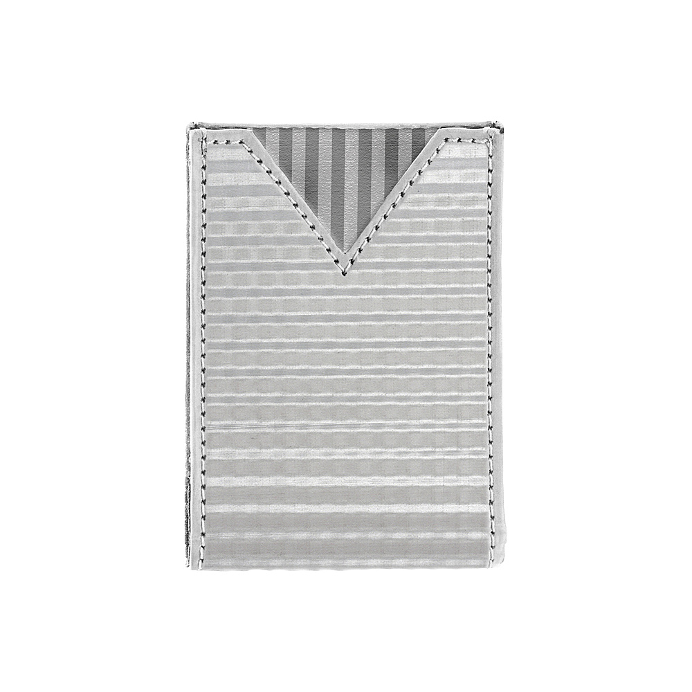 Stewart Stand Checkered Texture V Pouch Stainless Steel Wallet RFID Silver Grey Mesh Stewart Stand Men s Wallets