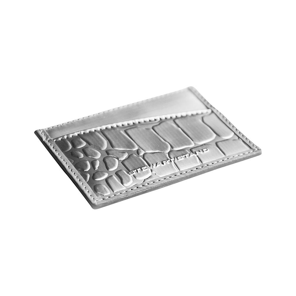 Stewart Stand Alligator Texture Card Stainless Steel Wallet RFID Silver Grey Stewart Stand Women s Wallets