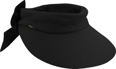 Scala Hats Deluxe Big Brim Cotton Visor Bow One Size - Black - Scala Hats Hats/Gloves/Scarves