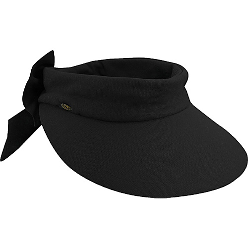 Scala Hats Deluxe Big Brim Cotton Visor Bow BLACK - Scala Hats Hats