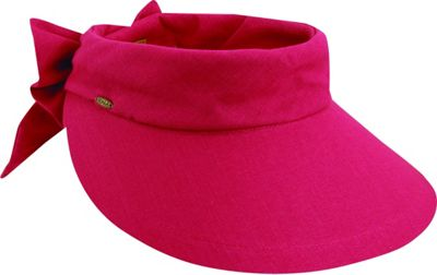 Scala Hats Deluxe Big Brim Cotton Visor Bow One Size - Fuchsia - Scala Hats Hats/Gloves/Scarves