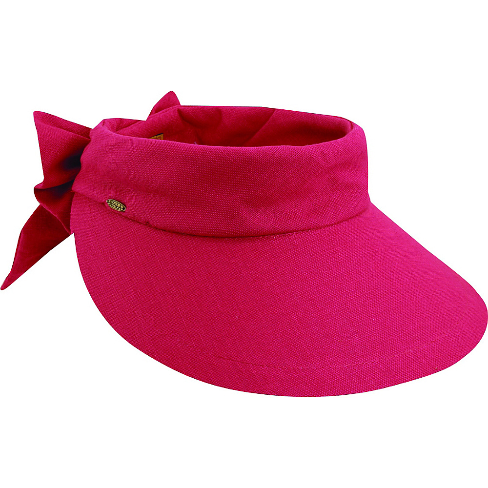 Scala Hats Deluxe Big Brim Cotton Visor Bow Fuchsia Scala Hats Hats Gloves Scarves