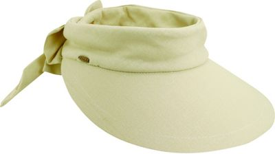 Scala Hats Deluxe Big Brim Cotton Visor Bow One Size - Natural - Scala Hats Hats/Gloves/Scarves