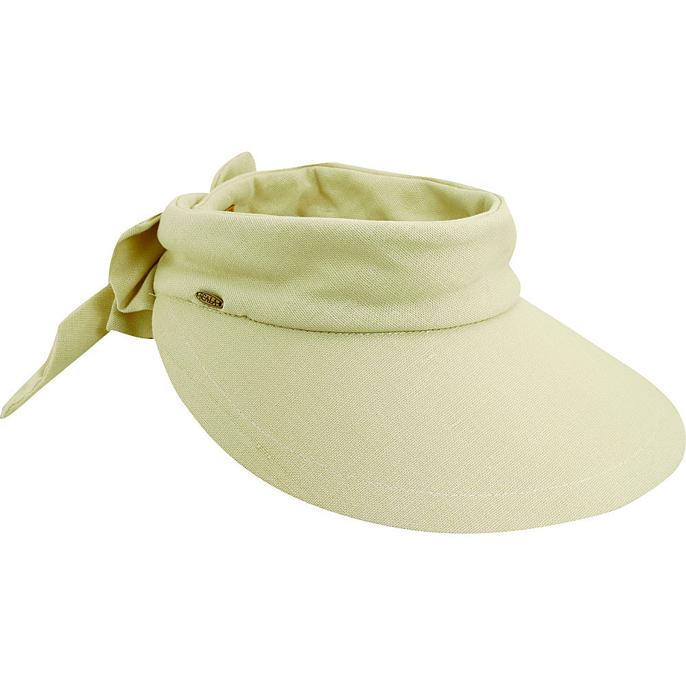 Scala Hats Deluxe Big Brim Cotton Visor Bow Natural Scala Hats Hats Gloves Scarves