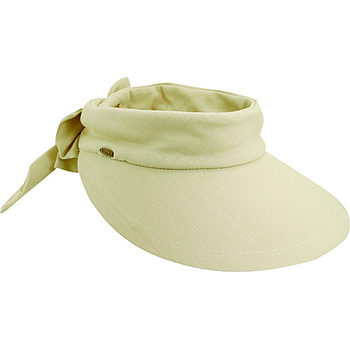 Scala Hats Deluxe Big Brim Cotton Visor Bow NATURAL - Scala Hats Hats