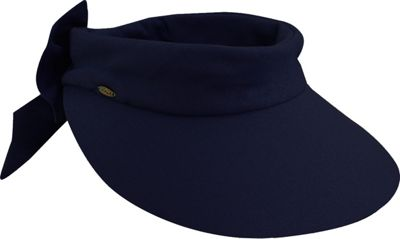 Scala Hats Deluxe Big Brim Cotton Visor Bow One Size - Navy - Scala Hats Hats/Gloves/Scarves