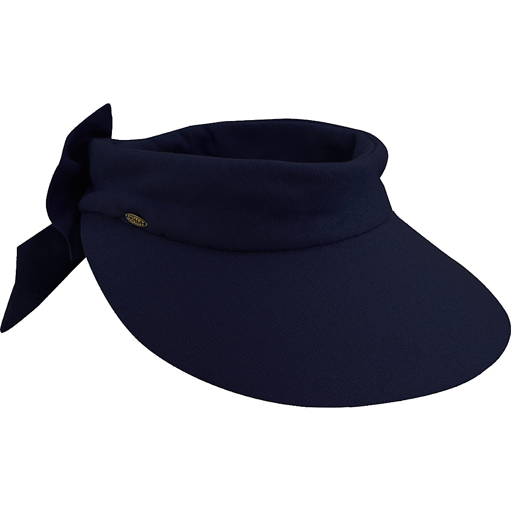 Scala Hats Deluxe Big Brim Cotton Visor Bow Navy Scala Hats Hats Gloves Scarves