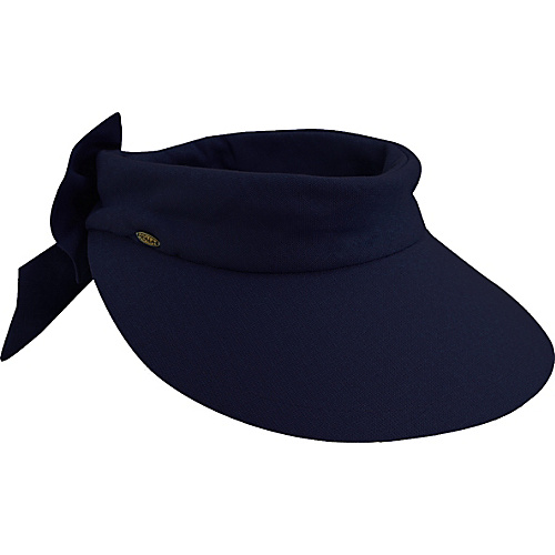 Scala Hats Deluxe Big Brim Cotton Visor Bow NAVY - Scala Hats Hats