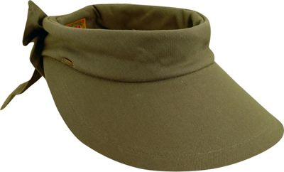 Scala Hats Deluxe Big Brim Cotton Visor Bow One Size - Olive - Scala Hats Hats/Gloves/Scarves