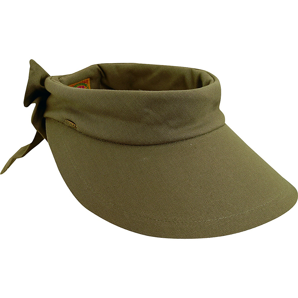 Scala Hats Deluxe Big Brim Cotton Visor Bow OLIVE - Scala Hats Hats