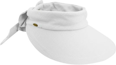 Scala Hats Deluxe Big Brim Cotton Visor Bow One Size - White - Scala Hats Hats/Gloves/Scarves