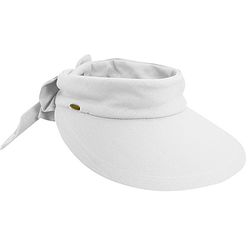Scala Hats Deluxe Big Brim Cotton Visor Bow WHITE - Scala Hats Hats