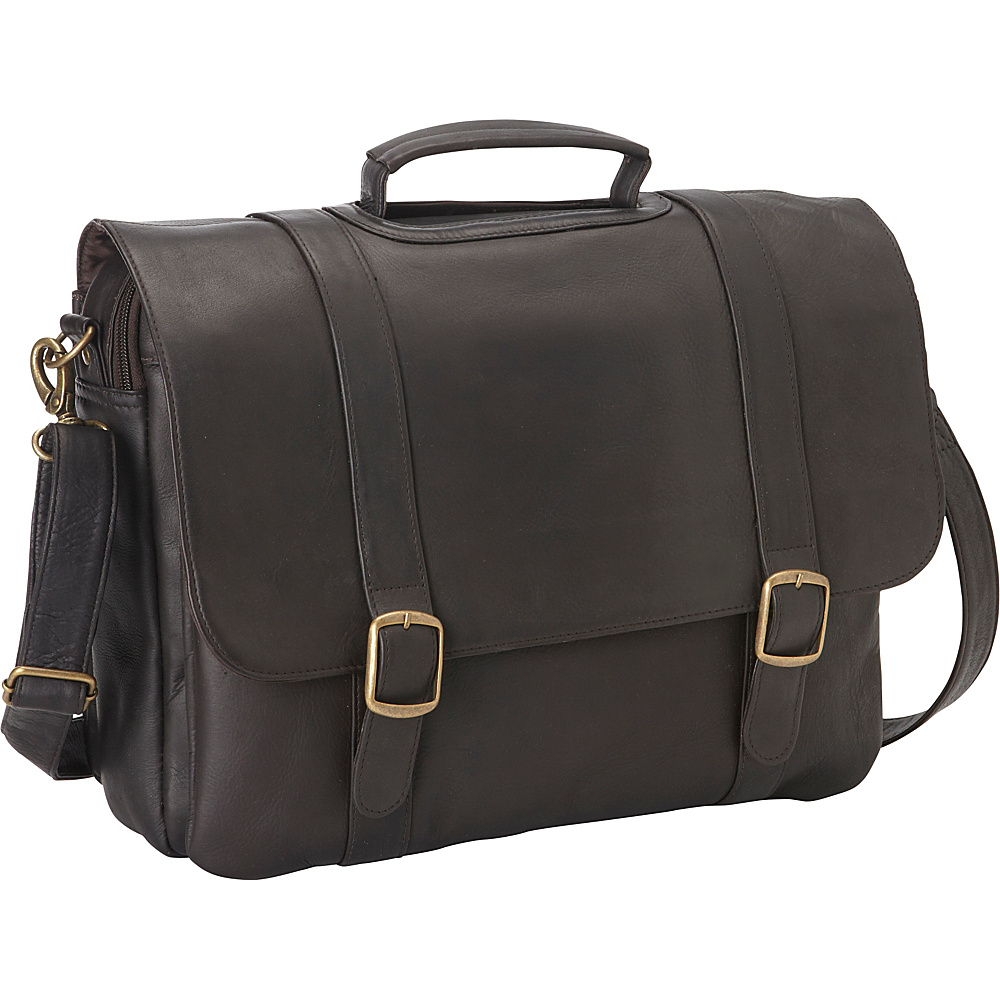 Le Donne Leather Classic Computer Brief Cafe - Le Donne Leather Non-Wheeled Business Cases - Work Bags & Briefcases, Non-Wheeled Business Cases