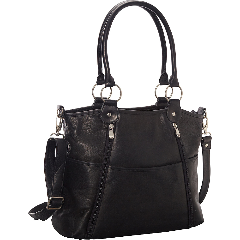 Le Donne Leather Nevington Convertible Satchel Black - Le Donne Leather Leather Handbags - Handbags, Leather Handbags