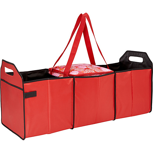 Sachi Insulated Lunch Bags Style 166 Trunk Organizer with Cooler Red Solid with Red - White Mums - Sachi Insulated Lunch Bags Travel Coolers