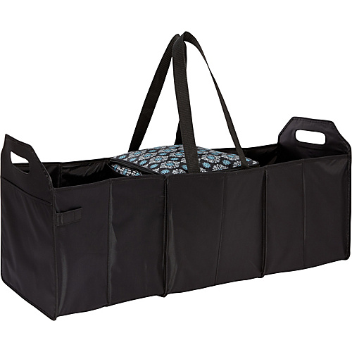 Sachi Insulated Lunch Bags Style 166 Trunk Organizer with Cooler Black Solid with Black-Blue Medallion - Sachi Insulated Lunch Bags Travel Coolers