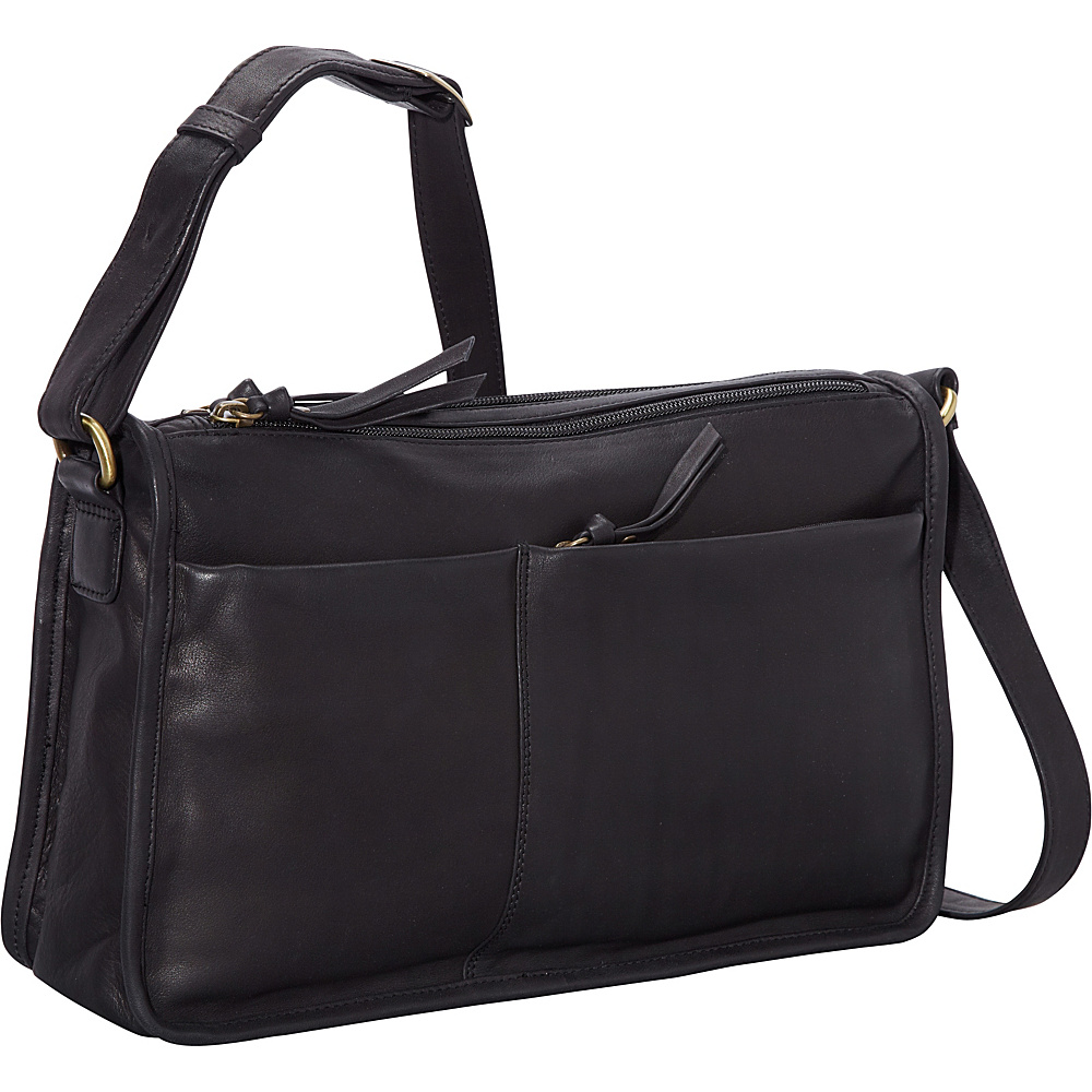 Derek Alexander EW Twin Top Zip Semi Structured Handbag Black - Derek Alexander Leather Handbags - Handbags, Leather Handbags
