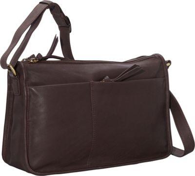 Derek Alexander EW Twin Top Zip Semi Structured Handbag Brown - Derek Alexander Leather Handbags