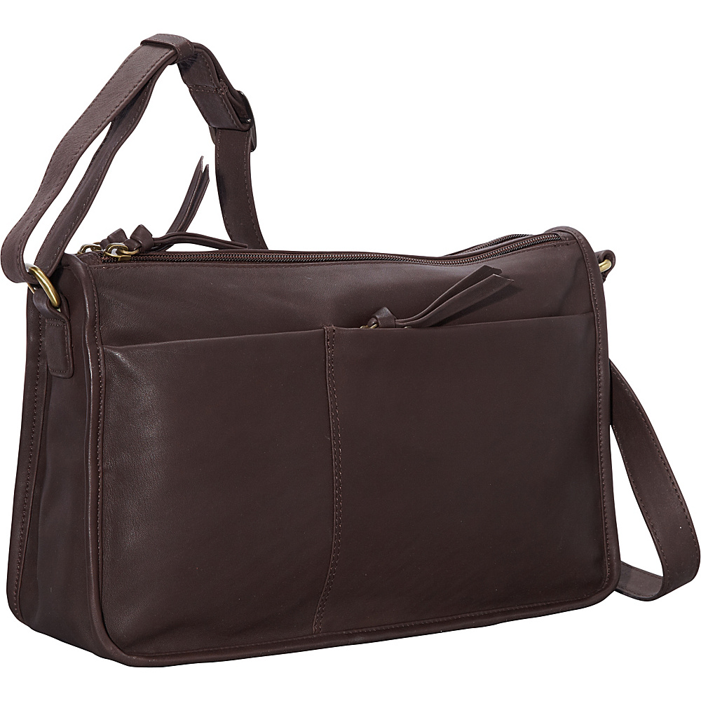Derek Alexander EW Twin Top Zip Semi Structured Handbag Brown - Derek Alexander Leather Handbags - Handbags, Leather Handbags