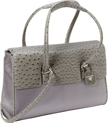 Women In Business Francine Collection -  15.6 inch Gray Ostrich London Laptop Case Grey - Women In Business Women's Business Bags