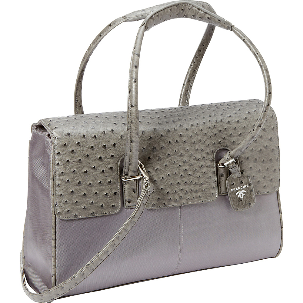 "Women In Business Francine Collection - 15.6"" Gray Ostrich London Laptop Case Grey - Women In Business Women's Business Bags"