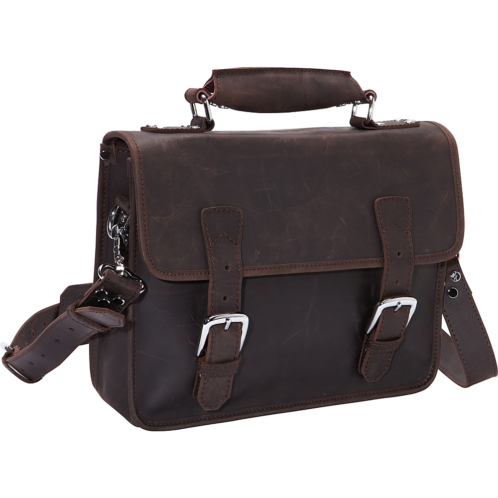 Vagabond Traveler Cowhide Leather Messenger Laptop Bag Dark Brown - Vagabond Traveler Non-Wheeled Business Cases - Work Bags & Briefcases, Non-Wheeled Business Cases