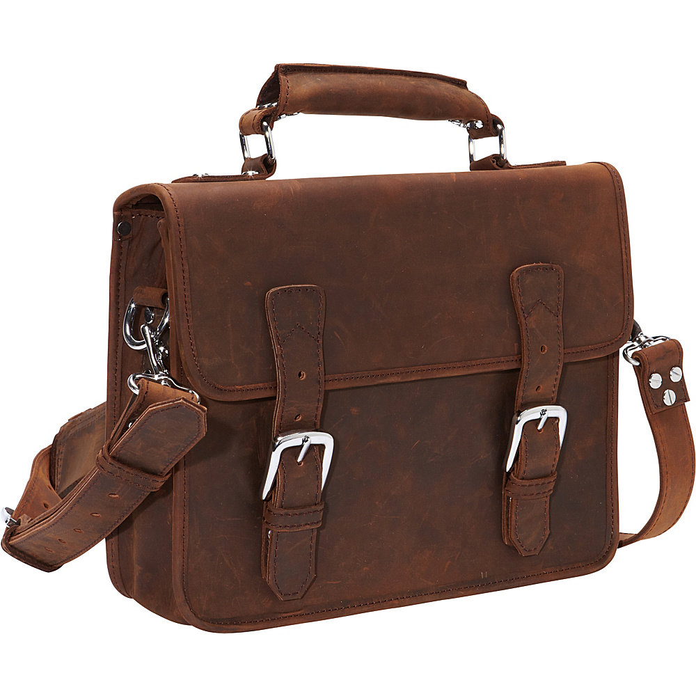 Vagabond Traveler Cowhide Leather Messenger Laptop Bag Vintage Brown - Vagabond Traveler Non-Wheeled Business Cases - Work Bags & Briefcases, Non-Wheeled Business Cases