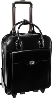 McKlein USA McKlein USA Melrose 15 inch Vertical Rolling Leather Laptop Tote EXCLUSIVE Black - McKlein USA Wheeled Business Cases