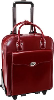 McKlein USA Melrose 15 inch Vertical Rolling Leather Laptop Tote EXCLUSIVE Red - McKlein USA Wheeled Business Cases